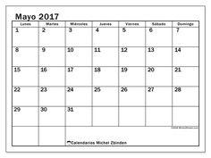 Calendario mayo 2017 para imprimir, gratis. Calendario mensual : Tiberius (L). La semana comienza el lunes