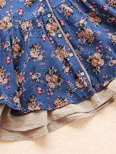 Vintage Women Floral Printed V-Neck Fake Two-Piece Shirt