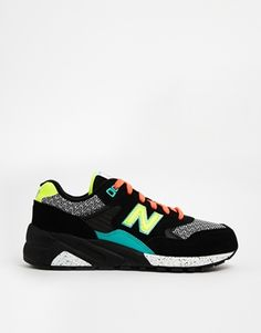 New Balance 580 Suede/Mesh Black Mix Trainers