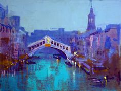 RIALTO AT NIGHT by Colin Ruffell.Oleographic version of the limited edition print using highlights and texture to create a unique piece. Details on artfinder or www.crabfish.com