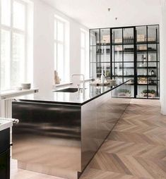 Interior design by Due de Fonss and Boffi. Contemporary Interior Design, Modern Kitchen Design, Interior Design Kitchen, Kitchen Decor, Kitchen Ideas, Contemporary Wallpaper, Contemporary Garden, Contemporary Architecture, Contemporary Stairs
