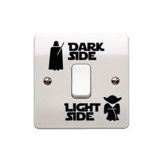 """Lot de stickers Star Wars Interrupteur en vinyle Art """"clair/foncé côté Enfant Interrupteur de lumière de la pièce en vinyle noir 2,5cm x 5,5cm.. uksellingsuppliers"""