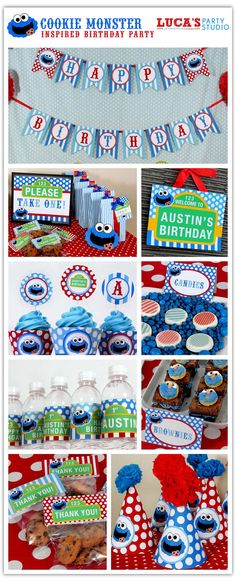 Cookie Monster Sesame Street inspired Birthday Party - Personalized Package FULL Collection - DIY PRINTABLE - XA103x. $35.00, via Etsy.