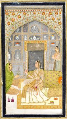 Small Clive Album p. 110, lady in pavilion, opaque watercolour on paper, Mughal, 18th century