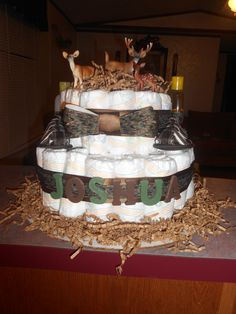 Camo cake I did :) Baby Girl Camo, Camo Baby Stuff, Diaper Parties, Baby Shower Parties, Camo Diaper Cake, Hunting Baby Showers, Baby Shower Camo, Baby Weeks, Showers Of Blessing