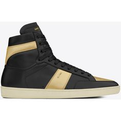 Saint Laurent Signature Court Classic Sl/10h High Top Sneaker ($655) ❤ liked on Polyvore featuring men's fashion, men's shoes, men's sneakers, yves saint laurent mens shoes, mens high top shoes, mens perforated shoes and mens high top sneakers