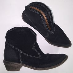 MIA Wanted Black Suede Ankle Cowboy Boots Black suede western boots with low heel. Made with a distress look on the suede by the sides of the toe and the heel. Super cute for the fall!! In great condition! MIA Shoes Ankle Boots & Booties