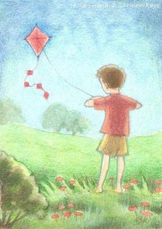 A picture by Carmen Medlin. Water color or pastels? Perhaps the former, going by the several areas colored in two-tones. T.P. (my-best-kite.com)
