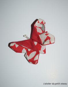 Pince papillon japonais rouge blanc - L'atelier du petit oiseau