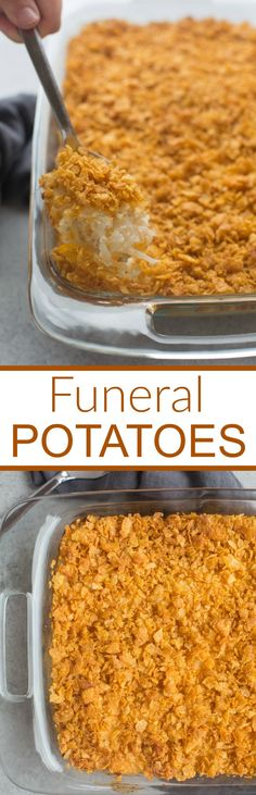 Easy, cheesy funeral potatoes are a delicious hash brown casserole that makes the perfect warm, comforting side dish! Tastes Better From Scratch Potato Dishes, Potato Recipes, Cheesy Potatoes With Hashbrowns, Funeral Potatoes Recipe, Funeral Food, Breakfast Sausage Recipes, Oven Roasted Turkey, Cream Of Chicken Soup, Brunch Party