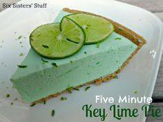 5 Minute Creamy Key Lime Pie. It really does only take 5 minutes to throw together! Has yogurt in it which makes it so smooth and creamy.
