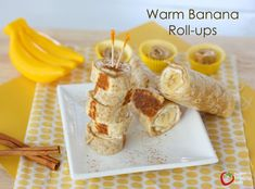 Warm Banana Roll-ups: Use Tortilla recipe from http://stupideasypaleo.com/2013/08/23/simple-paleo-tortillas/ then try using some almond or sunbutter, drizzled with a little honey.