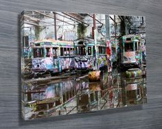 Old Abandoned Glebe Tram Depot Graffiti Photo Wall Art Canvas Prints Australia. These graffiti artwork prints look truly spectacular on the wall. Canvas Collage, Canvas Wall Art, Canvas Prints, Graffiti Artwork, Artwork Prints, Banksy Prints, Exclusive Collection, Wall Art Designs, Canvases