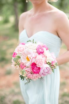 The bright pink bridesmaid bouquet pops against the baby blue gown Wedding Prep, Wedding Book, Home Wedding, Wedding Events, Wedding Bells, Dream Wedding, Wedding Bridesmaids, Wedding Bouquets, Bridesmaid Bouquets