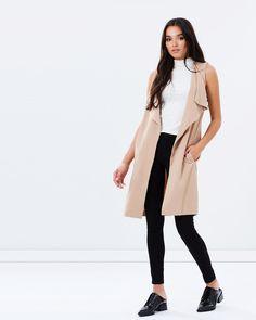 Miss Selfridge Waterfall Sleeveless Jacket Coats & Jackets