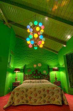 Bright green room