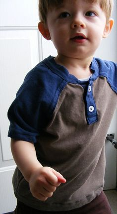 Short Sleeve Raglan Tee Henley from the book Sewing for Boys