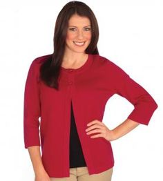 G502C Two Button Swing Cardigan | Sportco-Cutting Edge Apparel.  Companion to the SHORT SLEEVE U-NECK SHELL.  Black or red.  XS-4X