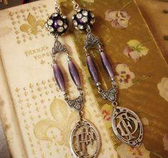 seRendipity vintage assemblage shoulder duster earrings by etXarte