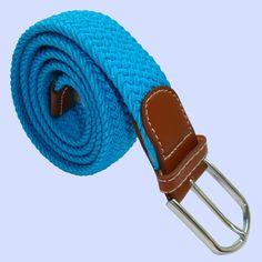 Plain Woven - Elasticated Fabric - Silver Toned Buckle Belt - Blue