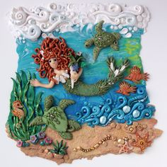 Book 3 wall decor mermaid, sea turtles, sea horse, star fish and fish for the #FriesenProject by Laurie Grassel