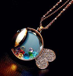 793068c7e592 Floating Crystal Gold Fish Fashion Necklace