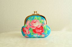 Cute shop!!! Turquoise floral clasp coin purse with Roses by SpringFlavor