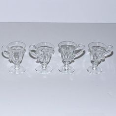 Hand Blown & Hand Cut Glass Footed Cordials with by Abundancy