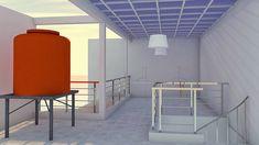 Atap jemuran direncanakan polyvinyl atau polykarbonat. Hal itu untuk melindungi jemuran pakaian terkena hujan langsung dengan tetap menyalurkan panasnya matahari. Exterior Design, Bar Stools, Places To Go, Divider, Interior, Room, House, Furniture, Home Decor