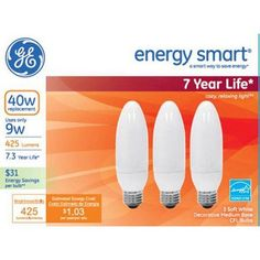 GE energy smartᅡᆴ CFL 9 watt SW Deco Medium base 3-pack