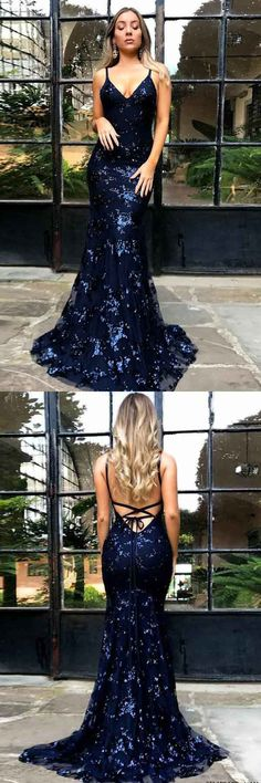 Mermaid Spaghetti Straps Navy Blue Backless Tulle Appliques Prom Dress PG607 #navyblue #mermaiddress #dress #straps #promdress #eveningdress #promgown #pgmdress #tulle #2018prom #fashion