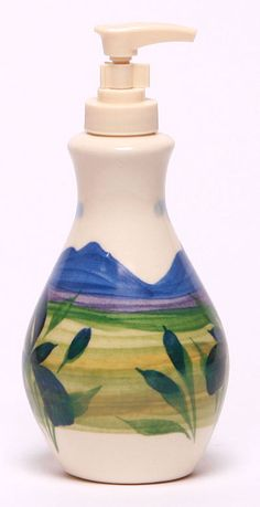 Soap Dispenser, Summer Peaks Pattern: Made in the USA and Lead-Free   Emerson Creek Pottery