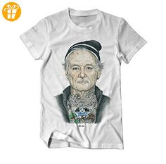Bill Fucking Murray tätowiert Zeichnung T-Shirt Medium Weiß (*Partner-Link)