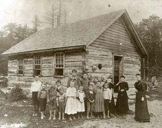 Vintage Teacher One Room School Log Cabin Bare Foot Students Michigan 1880 | eBay