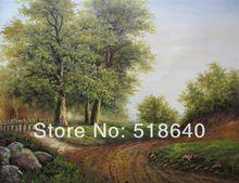 trasporto libero della tela di canapa decorativa classica strada di campagna pittura a olio paesaggio dipinto a mano picture wall art vernice pt86(China (Mainland))
