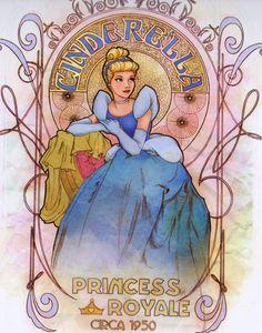 *CINDERELLA, 1950....Art Nouveau Cinderella from Art of the Disney Princess