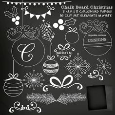 ChalkBoard Christmas Digital Clipart Elements & by cupcakecutiees