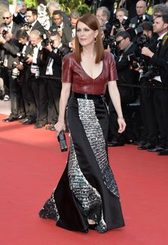 Best dressed Cannes 2014 Julianne Moore in a Louis Vuitton dress, belt, and bag, and Chopard jewelry