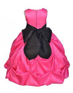 Amazon.com: Wedding Pageant Fuchsia Bubble Pick-up Kid Flower Girl Dress 301s: Clothing