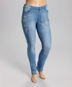 This Light Indigo Embroidered Skinny Jeans - Plus by Be Girl Clothing is perfect! #zulilyfinds