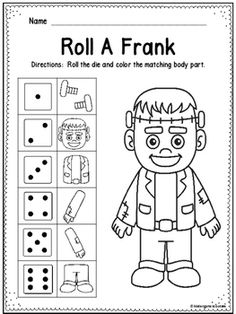 This is a one page roll and color activity.  Students roll a die and color the corresponding body part to color in the Frankenstein.  This can be played independently or with a partner to see who gets their Frank colored first.  Use for a math center, early finishers, Halloween or even indoor recess.
