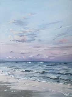 Original Brynn W Casey sunset over the ocean painting - Atlantic Ocean - acrylic painting Beach Sunset Painting, Sunset Acrylic Painting, Seascape Paintings, Ocean Paintings On Canvas, Ocean Artwork, Pastel Sunset, Ocean Sunset, Ocean Canvas, Painting Wallpaper
