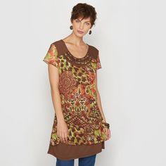 T-shirt-túnica, malha de rede estampada