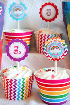 The Rainbow Party Collection - Cupcake wrappers - INSTANT DOWNLOAD. $4.00, via Etsy.