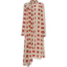 Marni Long Sleeve Printed Dress (171.185 RUB) ❤ liked on Polyvore featuring dresses, red, marni dress, tie dress, marni, asymmetrical hem dress and red dress