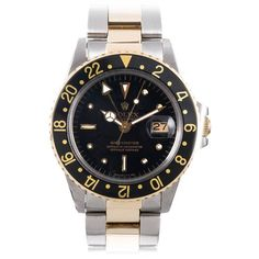 """Rolex Steel and Gold """"Nipple"""" Dial GMT-Master Wristwatch Ref 1675 circa 1970s 