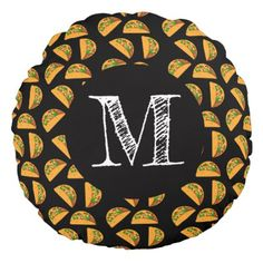 Taco Tuesday Round Pillow - customize create your own #personalize diy & cyo