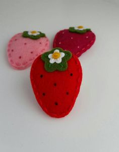Strawberry-wool-felt-snap-hair-clip by berry cool designs, $ 6.00