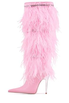 Knee-high feather heeled boots with jewel embellishment. - Fits true to size - Measurements taken from size 6 - heel - Fur/ Leather upper, leather lining, synthetic sole - Zipper closure Dream Shoes, Crazy Shoes, Stilettos, Pumps, Cute Shoes, Me Too Shoes, Love Fashion, Fashion Shoes, Shoe Boots