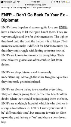 ENFP | going back to ex